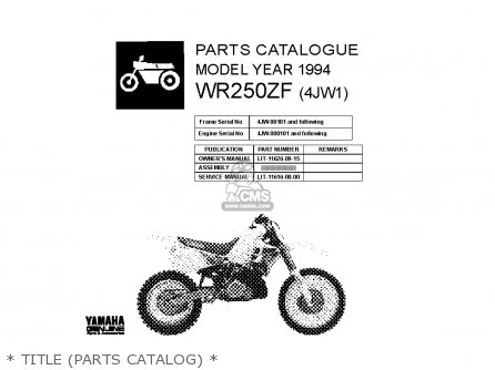 Yamaha WR250Z 1994 (R) USA parts lists and schematics