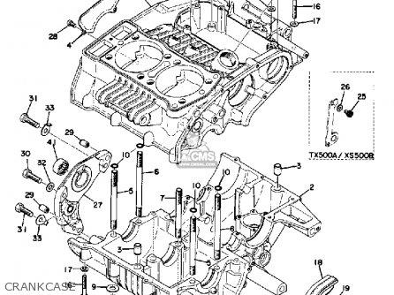 Yamaha Xs500b 1973-1975 parts list partsmanual partsfiche