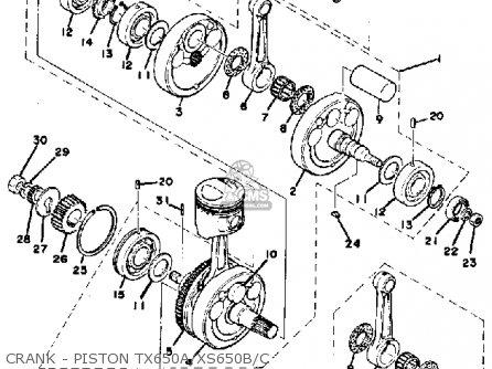 Yamaha XS650 1976 USA parts lists and schematics