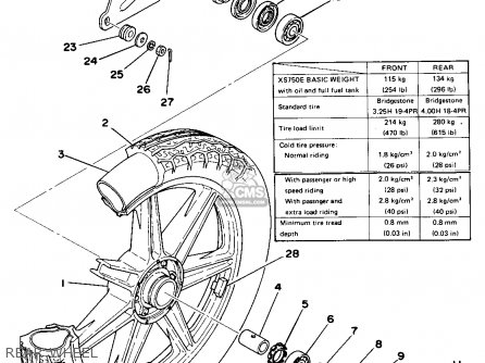 Yamaha XS750 1978 USA CANADA parts lists and schematics