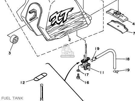 Yamaha Xt350 G 1995 parts list partsmanual partsfiche
