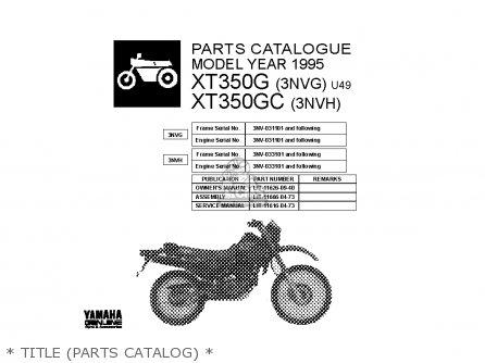 Yamaha Xt350 Gc 1995 parts list partsmanual partsfiche