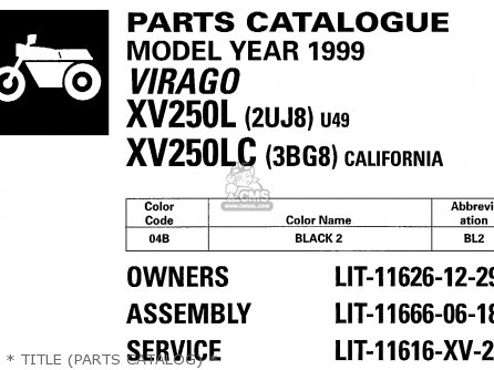 Yamaha Xv250 Xv250c 1999 (x) Usa California parts list