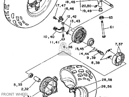 Yamaha YFM350ERU 1988 parts lists and schematics