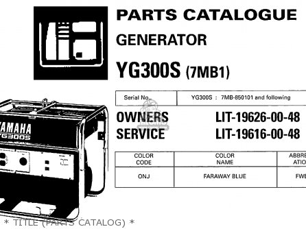 Yamaha Yg300s 7mb1 Generator parts list partsmanual partsfiche