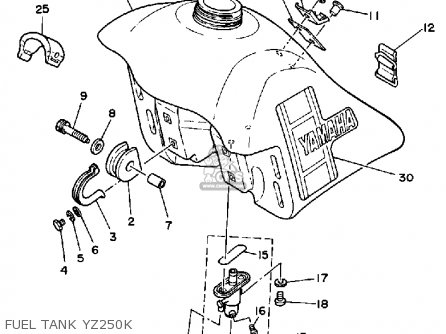 Yamaha Yz250k 1983/1984 parts list partsmanual partsfiche