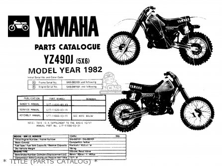 Yamaha Yz490 Competition 1982 (c) Usa parts list