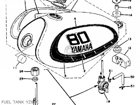 Yamaha Yz80 Competition 1976 Usa parts list partsmanual