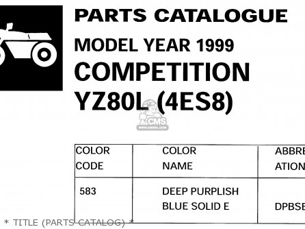 Yamaha Yz80 Competition 1999 (x) Usa parts list