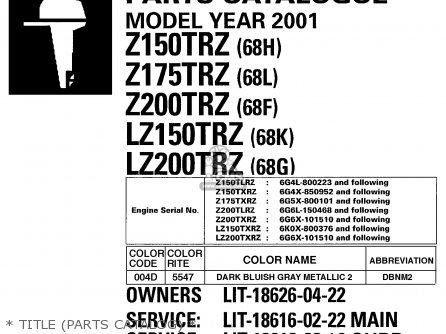 Yamaha Z150/Z175/Z200TRZ-LZ150/LZ200TRZ 2001 parts lists