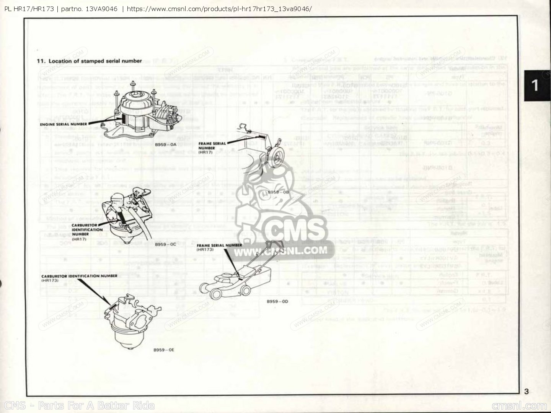 (13va90e7) Pl Hr17/hr173 Parts Manuals 13VA9046