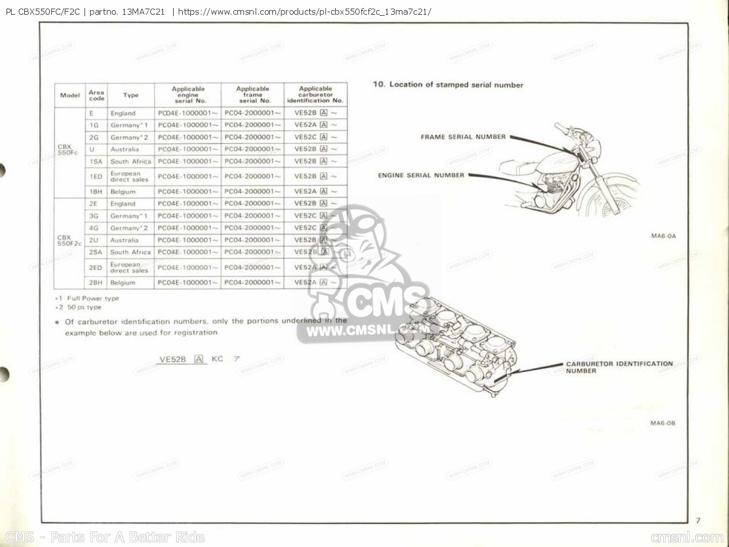 Pl Cbx550fc/f2c Parts Manuals 13MA7C21