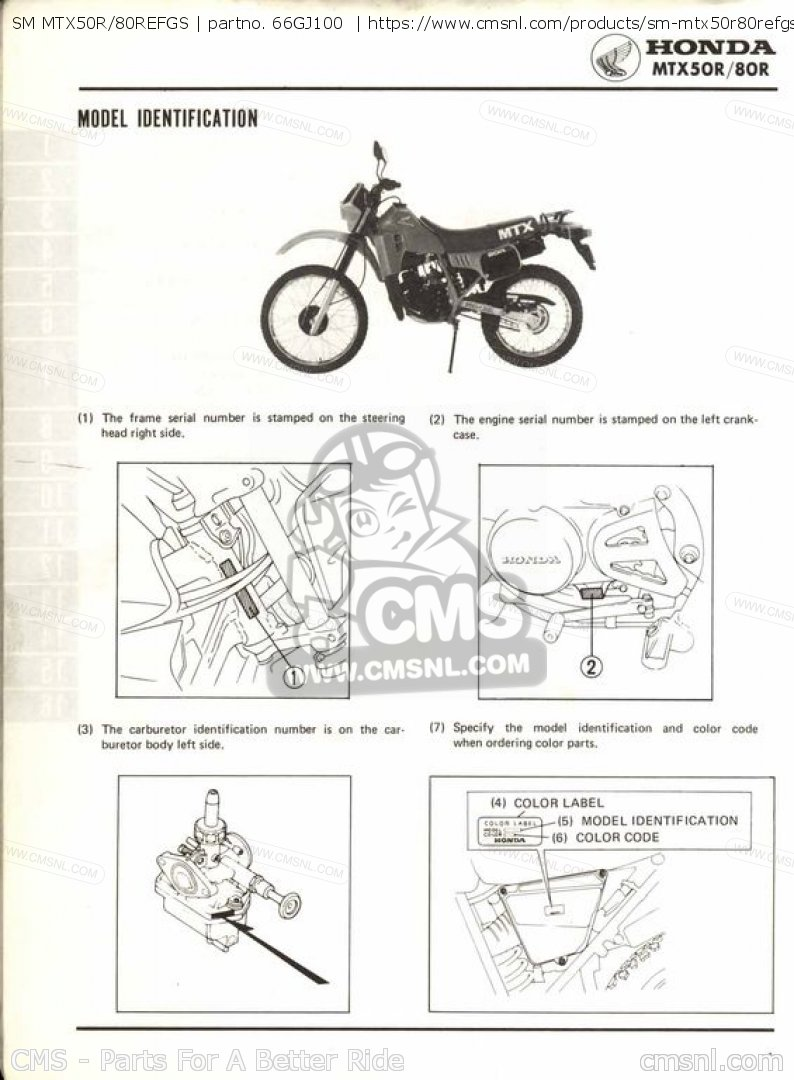 Sm Mtx50r/80refgs Shop Manuals 66GJ100