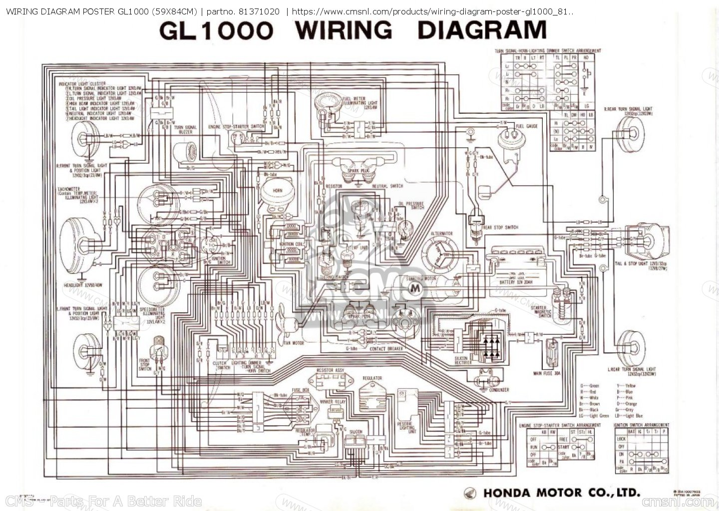 hight resolution of wiring diagram poster gl1000 59x84cm other 81371020 honda goldwing gl1800 wiring diagram honda goldwing wiring diagrams