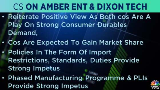 Credit Suisse on Amber and Dixon Tech: Phase manufacturing program and PLIs give a strong boost to both forms, the brokerage said.  It reiterated a positive view of both companies.