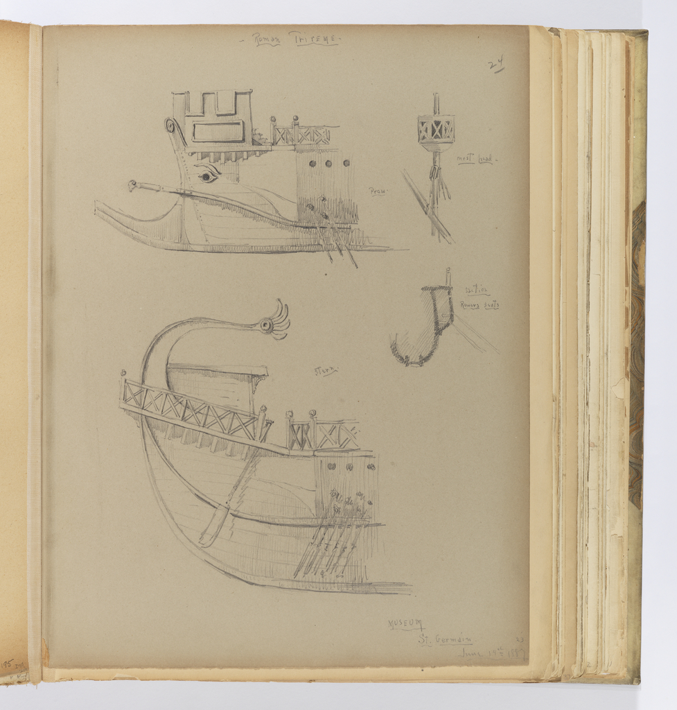 hight resolution of album page bow and stern of trireme with details june 14 1887