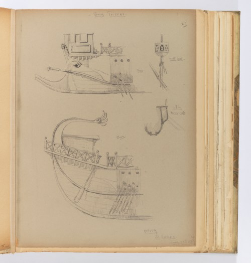 small resolution of album page bow and stern of trireme with details june 14 1887