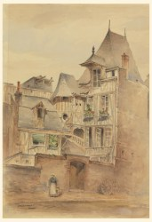 Drawing Street Scene with Medieval Houses ca 1885 Objects Collection of Cooper Hewitt Smithsonian Design Museum