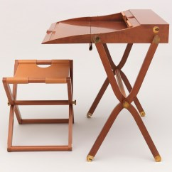 Folding Chair Desk For Girls Room Pippa 1985 87 Objects Collection Of Cooper Hewitt With Crossed Hinged Legs And Brass Hardware Table Has Box Like Top