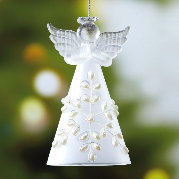 Glass Snow Angel Ornament Colorful