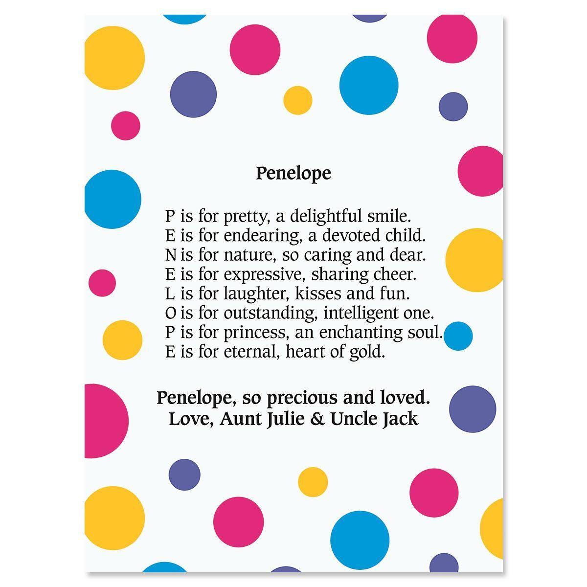 Dots Name Poem Print