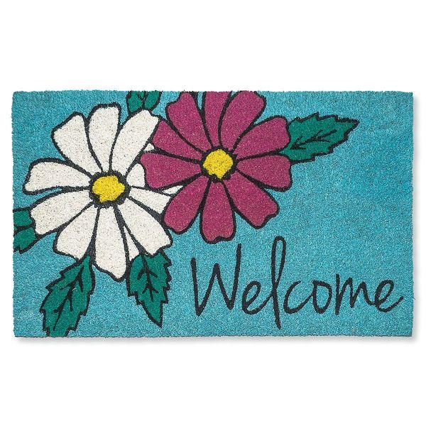 Floral Coir Doormat Colorful