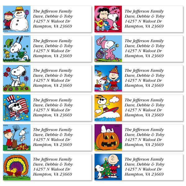 Peanuts Year Classic Return Address Labels