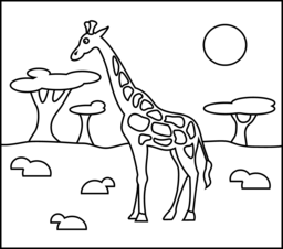 Giraffe Coloring Page. Printables. Apps for Kids.