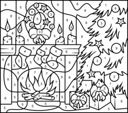 Christmas Fireplace Coloring Page. Printables. Apps for Kids.