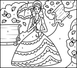 Princess in Garden Coloring Page. Printables. Apps for Kids.