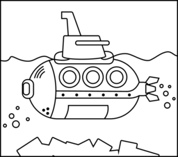 Submarine Coloring Page. Printables. Apps for Kids.