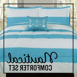comforters bedding sets twin full queen or king comforter blue white nautical anchor stripe bedding set home garden