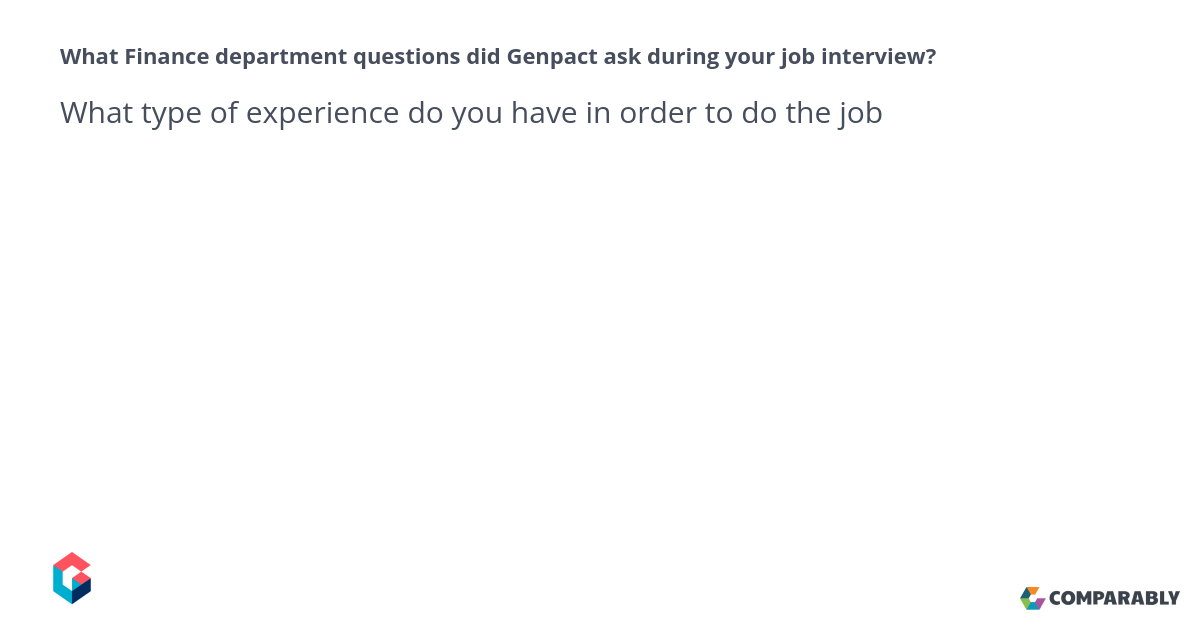 Interview Questions Asked In Genpact For Finance