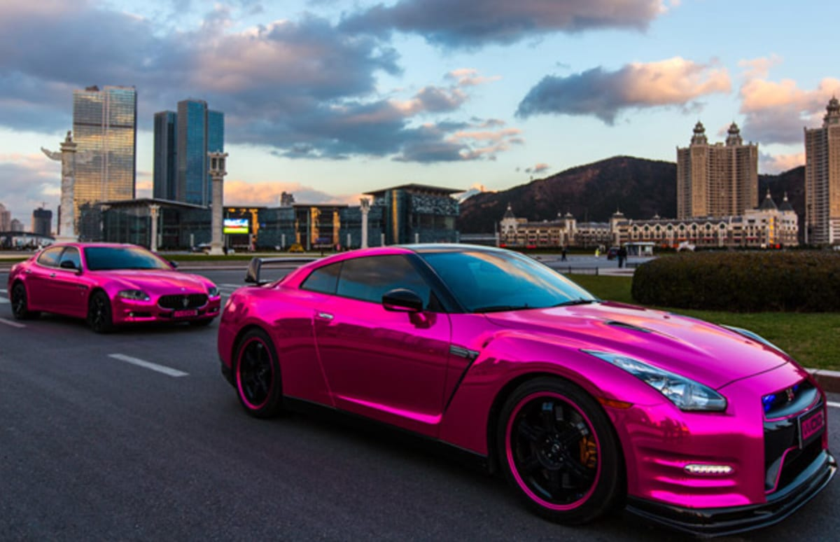 Dope Wallpaper Super Cars The Pink Chrome Nissan Gt R And Maserati Quattroporte Aren