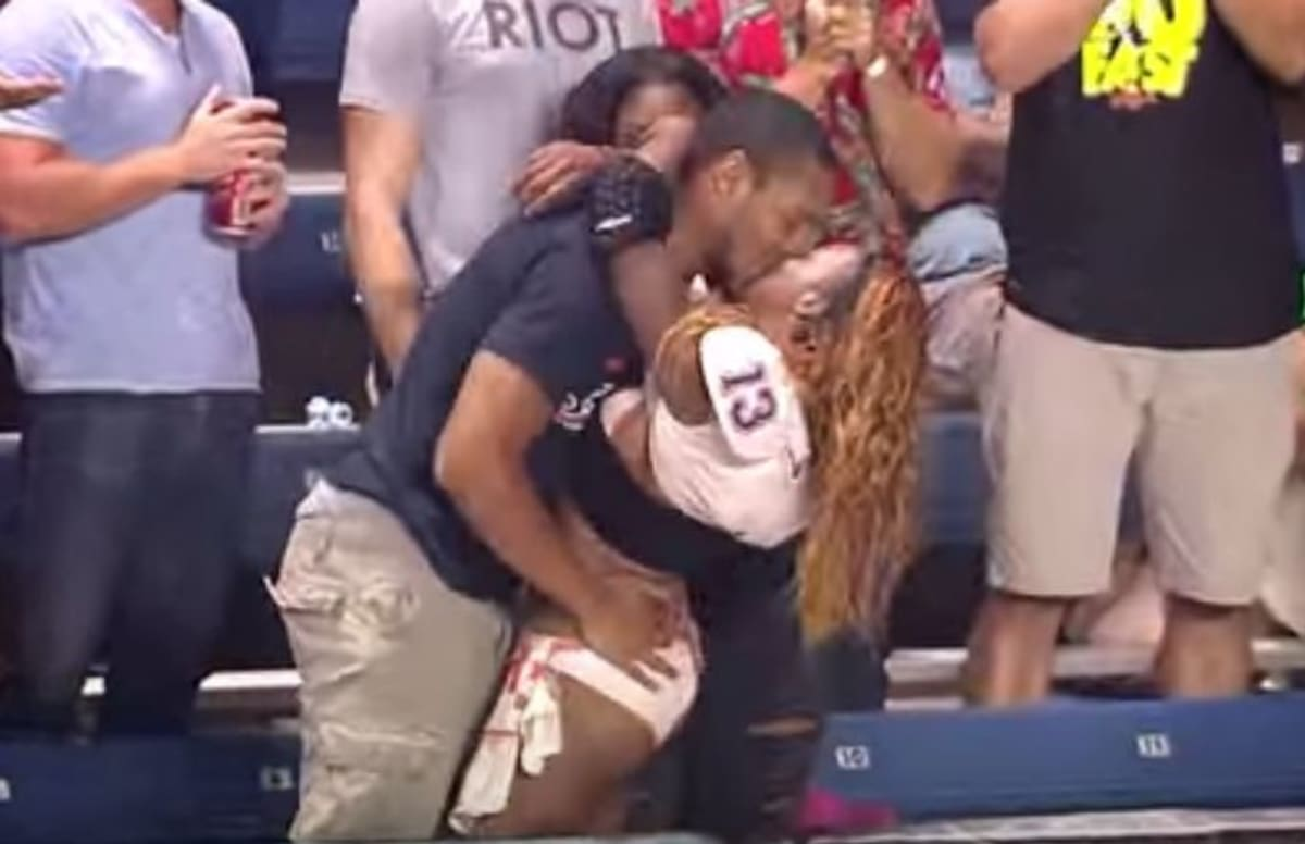 Lingerie Football Player Scores A Touchdown And Celebrates By Making Out With A Fan Complex