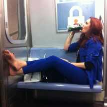 Guzzling Beer Barefoot Subway Nyc Complex