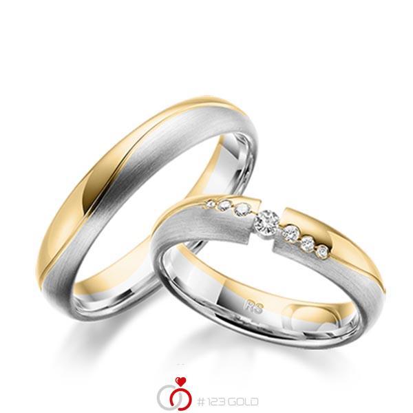 Trauringe Gelbgold 585 Weigold 585 mit 011 ct tw si