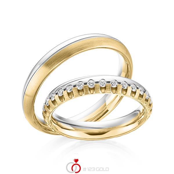 Trauringe Gelbgold 585 Weigold 585 mit 072 ct tw si