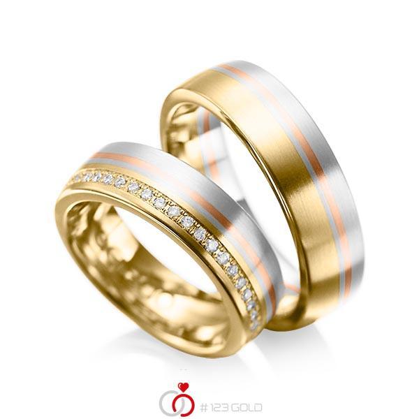Trauringe Gelbgold 585 Weigold 585 Rotgold 585 mit 0216