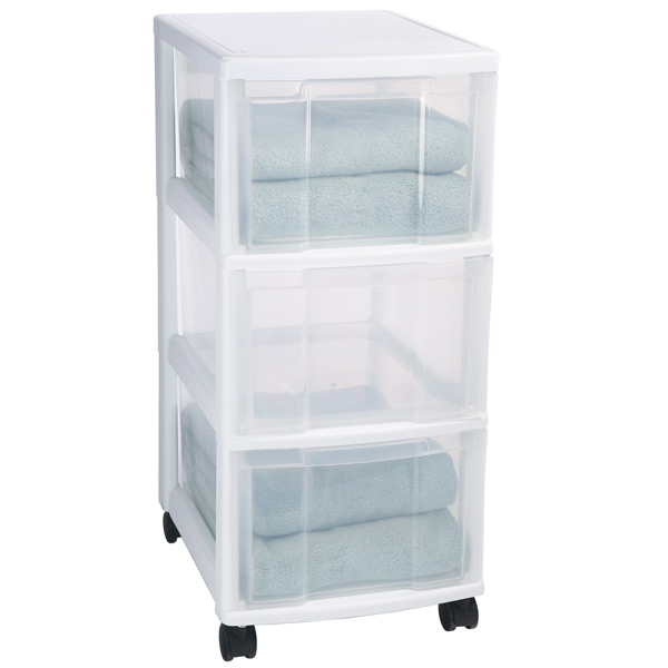 Iris 3Drawer Storage Chest with Wheels  The Container Store