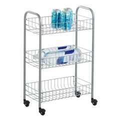 Rolling Cart For Kitchen Backsplashes Kitchens Silver 3 Tier Siena The Container Store