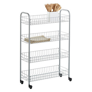 wire kitchen cart island seats 6 carts the container store silver 4 tier slim rolling