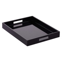 Kitchen Tray Shelf Liners Small Trays The Container Store Black Lacquered Serving With Handles