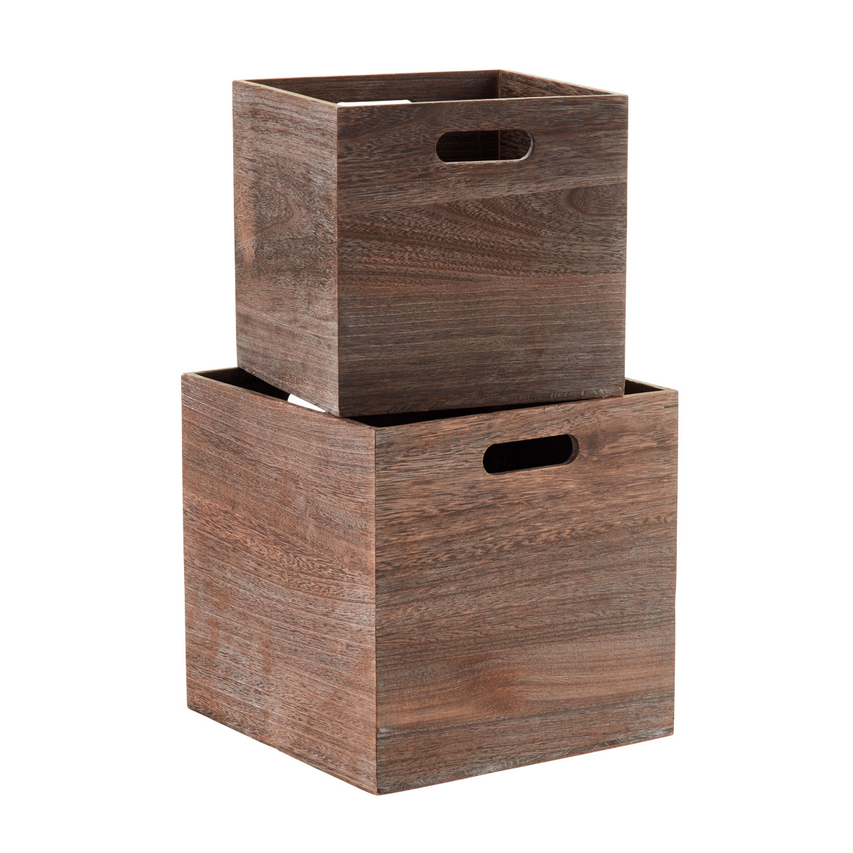 Feathergrain Wooden Storage Cubes With Handles