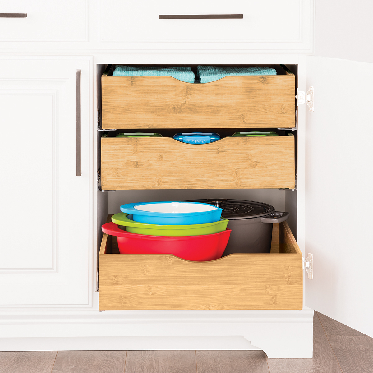 Cabinet Drawers  Bamboo Pullout Cabinet Drawers  The