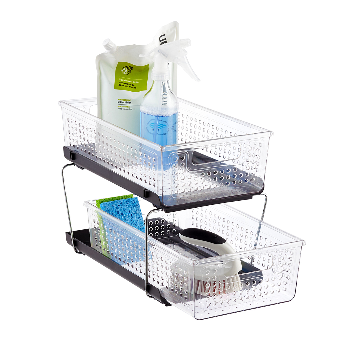 two tier kitchen drawer organizer retro furniture madesmart 2 divided cabinet the container