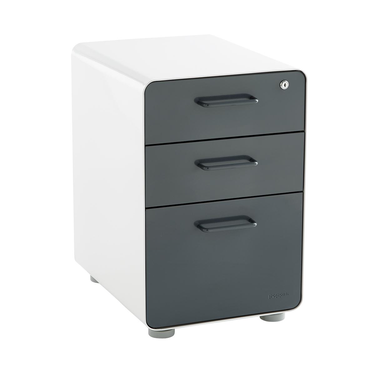 Poppin Dark Grey 3Drawer Locking Stow Filing Cabinet