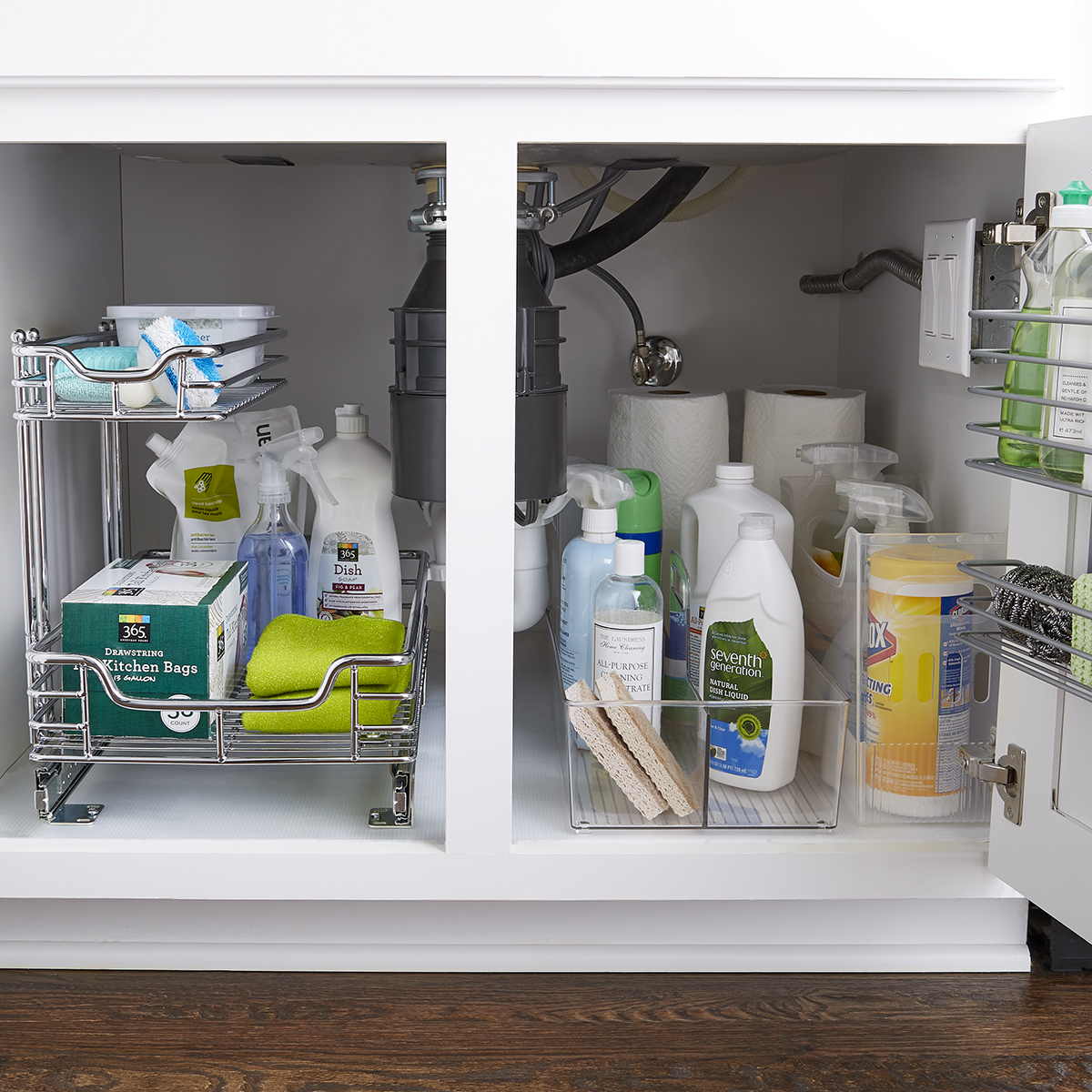two tier kitchen drawer organizer cabinet refacing mississauga chrome 2 sliding the container store