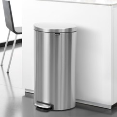 Tall Kitchen Garbage Can And Bath Showrooms Near Me Trash Cans The Container Store Brabantia Stainless Steel 8 Gal 30l Flatback Semi Round