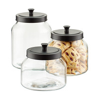 kitchen canister taylor timer canisters sets glass the with matte black lids